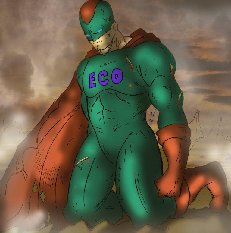 Green Eco superhero with orange cloak