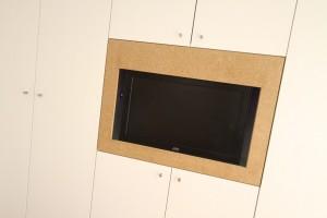 White Modern TV Media with strawboard frame