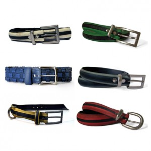 6 belts made of different coloured materials