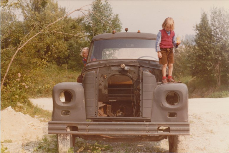Tristan Titeux playing on an old quarry truck