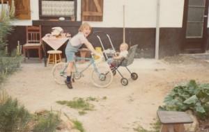 Children on bike and push chair