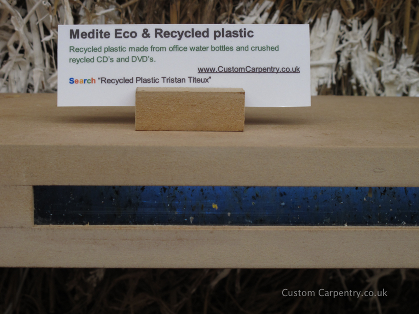Shelf made of Medite Ecologique MDF with blue recycled plastic
