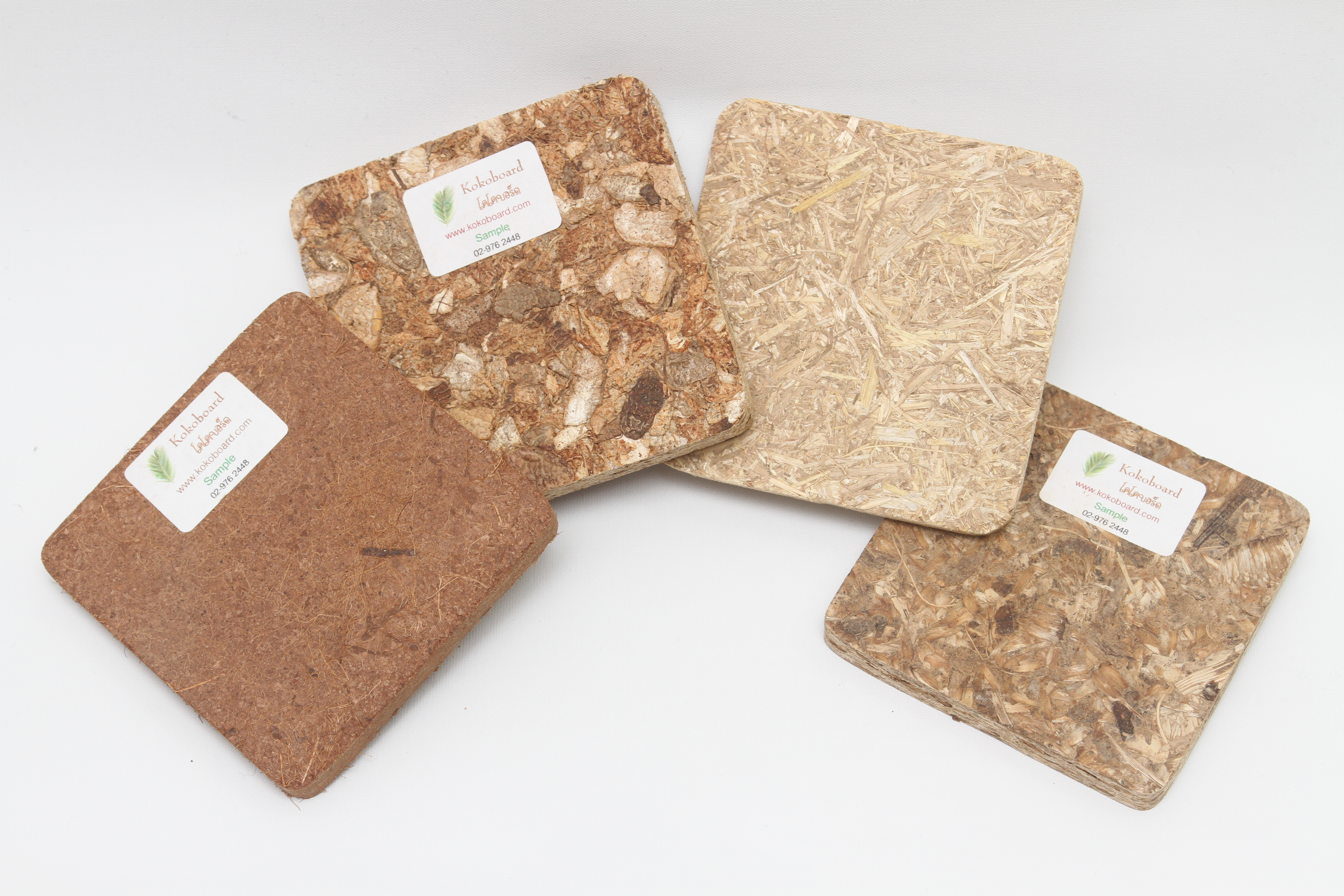 Samples of boards made of waste by products by Kokoboard.