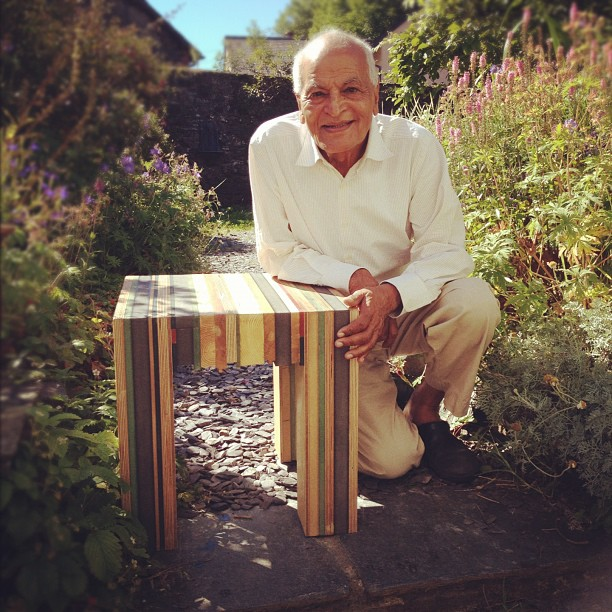 Milo photographed with Satish Kumar from Resurgence magazine