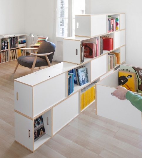 Modular bookcase made from boxes