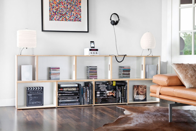 Shelves made from plywood boxes